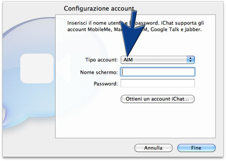 AIM per iChat inserisci account